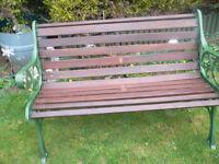 wrought iron and hardwood garden bench