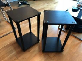 Pair of Black Side / End Tables with lower and top shelves