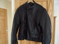 Black leather motorcycle jacket.