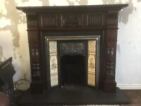 Mahogany Feature Fireplace with tile inset and slate hearth