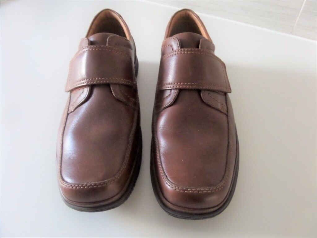 New Mens Smart Casual 100 Leather Velcro Strap Wide Fit Shoes Size