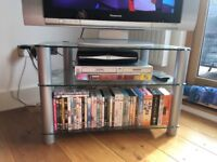 TV Stand - clear glass with chrome finish