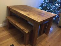 Solid Pine Dining Table With 2 Bench Set