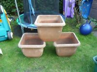 3x plastic plant pots with drainage plates.