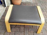 Ikea Brown Leather Footstool