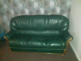 3 seater + 2 single leather matching chairs