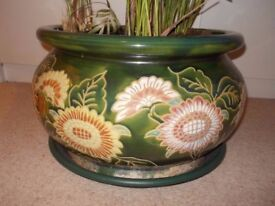 1 Large Green Floral Oriental Clay Glazed Indoor Plant Pot/Planter in C. London