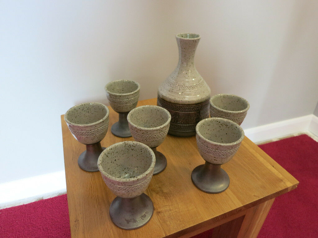 Vintage Poole Studio Pottery Wine Carafe with Six Matching Goblets (1970s)    in Cambridge, Cambridgeshire   Gumtree