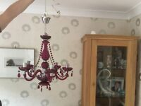 Pink centre light chandelier