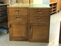 PAIR OF VINTAGE CUPBOARDS AND DRAWERS WITH KEYS