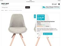 Brand new grey upholstered dining chairs(pair) from out and out original