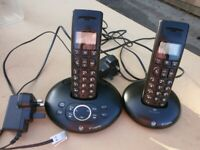 BT Graphite digital cordless 1500 Twin telephone, with answering machine.