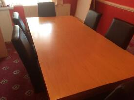 Pine Wood Dining Table and 6 Leather Chairs