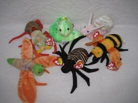 Ty Beanie Babies - Spider, beetle, firefly, bee, snail & worm