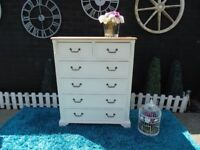 SOLID PINE FARMHOUSE LARGE CHEST OF DRAWERS WITH 4+2 DRAWERS PAINTED WITH LAURA ASHLEY CREAM COLOUR