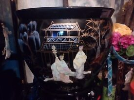 Oriental laquerd mother of pearl fishbowl with stand forsale