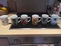 Mug set x 6 - Lovely dog design - Brand new, unused - BARGAIN £16