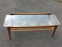 Midcentury glass top coffee table
