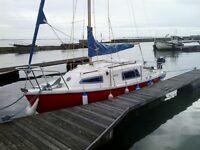 Yacht Seawych 19 on trailer