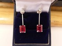 ladies 18k white gold earrings with diamonds and rubies 5.56 carats