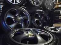 "17"" Genuine PORSCHE TWIST TURBO gunmetal alloys wheels STAGGERED 911 996 VW GOLF AUDI"
