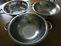 Set of 3 stainless steel colander