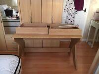 Oak veneer desk with 2 draws unusual design