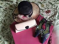 Jacques Vert Pink/Purple Hat, Shoes (Size 5) and bag