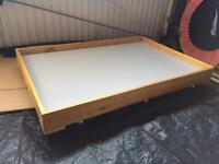 Handmade wooden play tray/tables with wheels.
