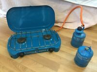 2 burner campingaz Lagon Camping Stove with 2 gas bottles