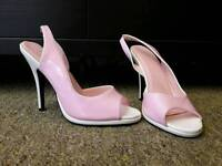 Pink and white patent sling backs