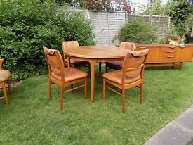 Teak Retro Mid Century Style Mcintosh Table , 6 matchings Chairs and 7ft Long Sideboard