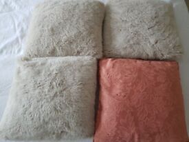 Four Cushions three faux fur one Peach