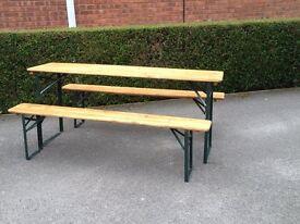 German beer keller table and 2 bench set
