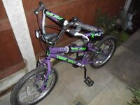 """BMX Bike 18"""" wheel 22"""" from floor to top of seat at lowest point."""