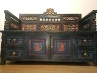 Stunning Indonesian carved settle storage bench