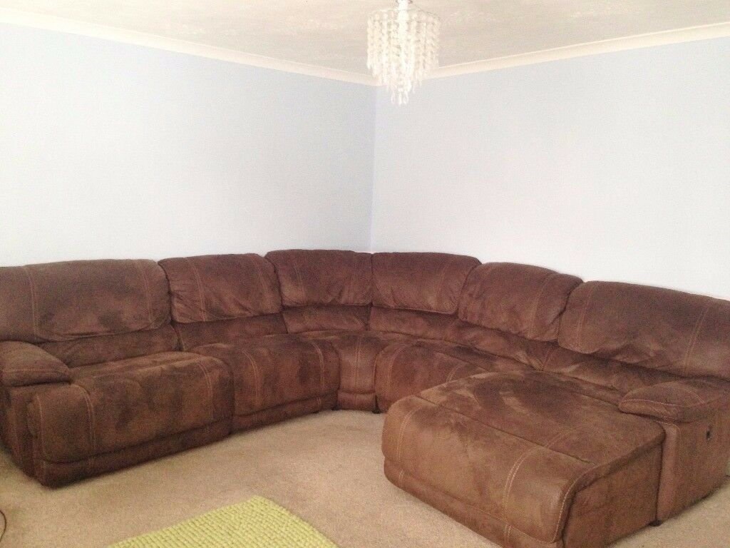 Extra large leather/suede corner sofa with recliner and ...