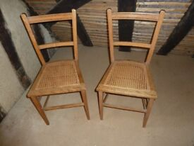 2 Edwardian caned bedroom chairs