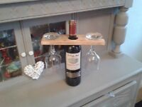 "HAND MADE RUSTIC ""OVER BOTTLE"" GLASS HOLDER - IDEAL CHRISTMAS PRESENTS"