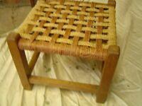 antique wicker top foot stool