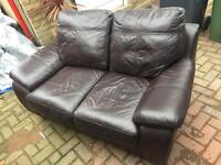 Two Seater Brown Leather Sofa - BARGAIN!