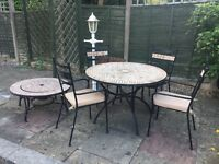 Mosaic garden table with firepit and 4 chairs