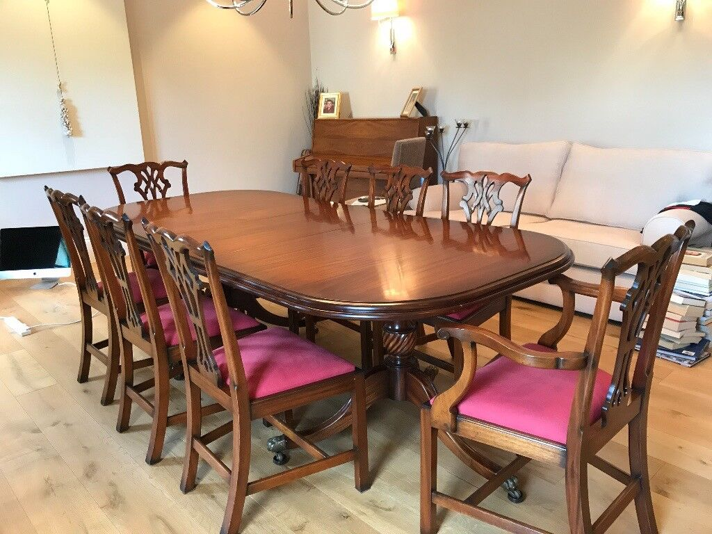 Solid Wood Dining Room Table And Eight Chairs Leeds