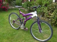 "Ladies Front and rear suspension Mountain bike, 26""Alloy wheel 21"" frame, 15 gears"