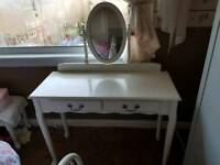White Antique Look Bedroom Dresser With Mirror