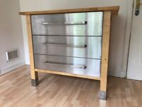 IKEA 3 Drawer Beech unit with stainless steel drawers