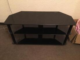 Black Glass Tempered TV Stand