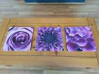 Set of 3 purple flower canvases