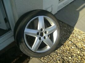 ONE,VW / VAG / AUDI,17 INCH,5 STUD,5 X 112 PCD,NICE COND ALLOY,C/W 225/45/17 TYRE