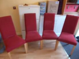 4 x NEXT DEEP RED HIGH BACK DINING CHAIRS